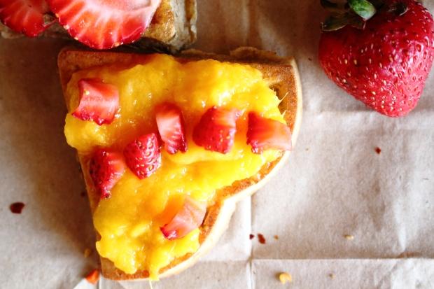 mango strawberry waffle